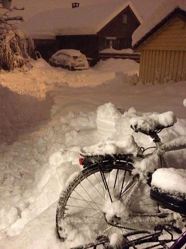 Sykkel i snø desember
