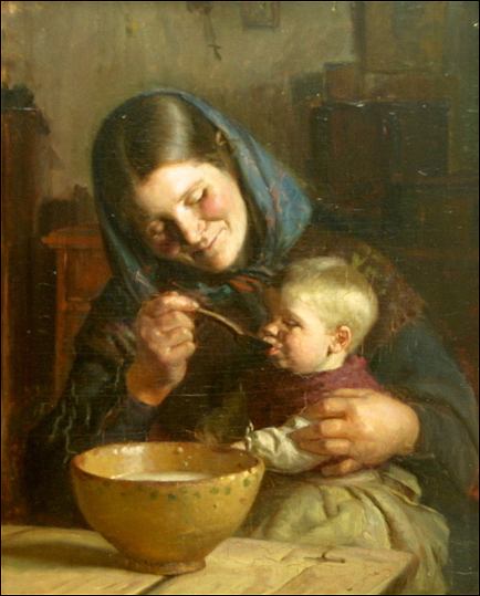 anna ancher, mor och barn, olja pa duk, 40 x 32 cm